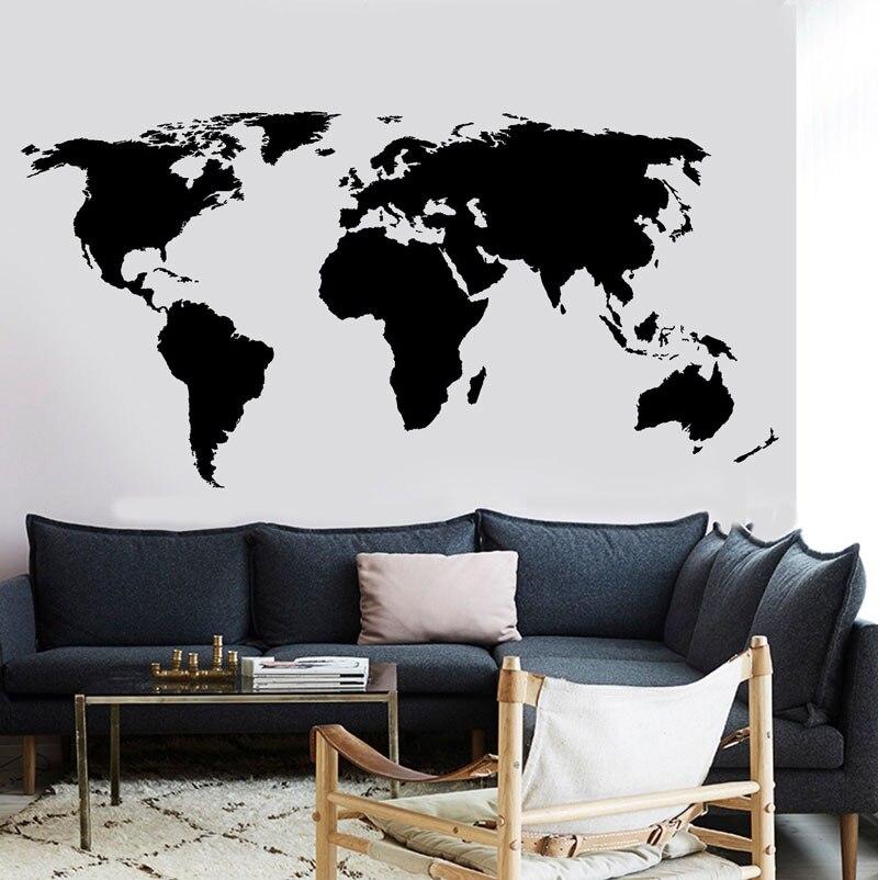 Gran mapa del mundo, calcomanía de pared, decoración de oficina, aula, vinilo, pegatina de pared de habitación, hogar, sala de estar, DT16