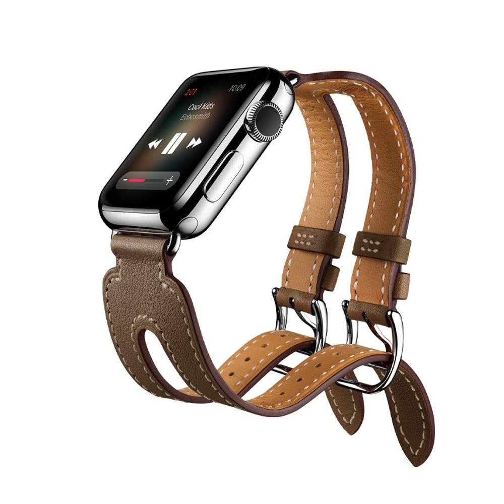 Bracelet manchette double boucle en cuir véritable pour Apple Watch 44/42/40/38mm bracelet de montre en cuir pour iwatch 5 4 3 2 1