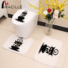 Miracille-couverture de siège de toilette 3 pièces/ensemble   Motif de chat noir mignon, tapis de porte de cuisine antidérapant, tapis antidérapant en molleton de corail, décoration de la maison