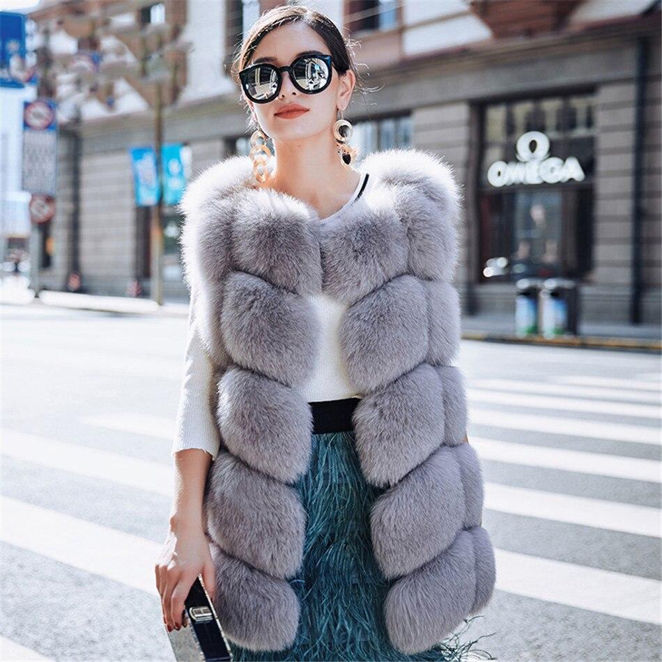 MLHXFUR largo azul zorro piel rejilla chaleco patchwork piel de oveja piel de zorro rayas gilet sin mangas abrigo 6xl chaleco Mujer