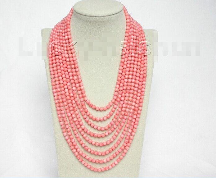"""TP354 U61 ENVÍO gratis>>>>>> Genuine 8row 17 """"-25"""" ronda de cuentas de coral rosa collar de 925 s cierre j8566 S"""