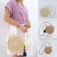 New Women Hand Woven Bag Round Rattan Straw Bohemia Style Beach Circle Bags