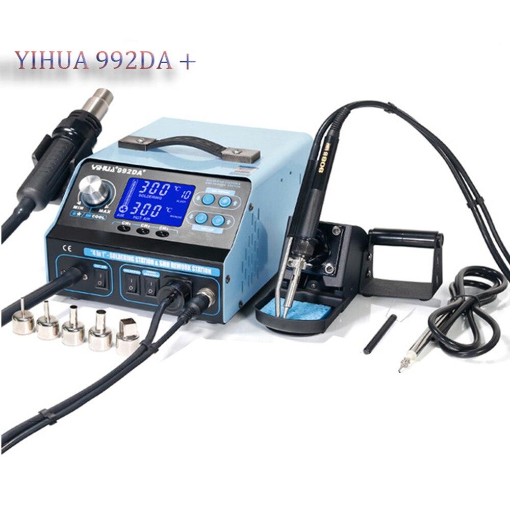 YIHUA-992DA BGA محطة إصلاح اللحام ، محطة إصلاح اللحام بمسدس الهواء الساخن ، مكواة لحام مدخنة ، 110 فولت/220 فولت