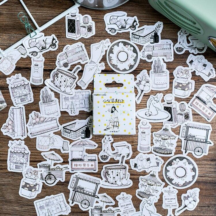 46 unids/lote libro de bocetos creativos pegatina de papel para decoración Diy Ablum álbum de recortes diario etiqueta adhesiva Kawaii papelería