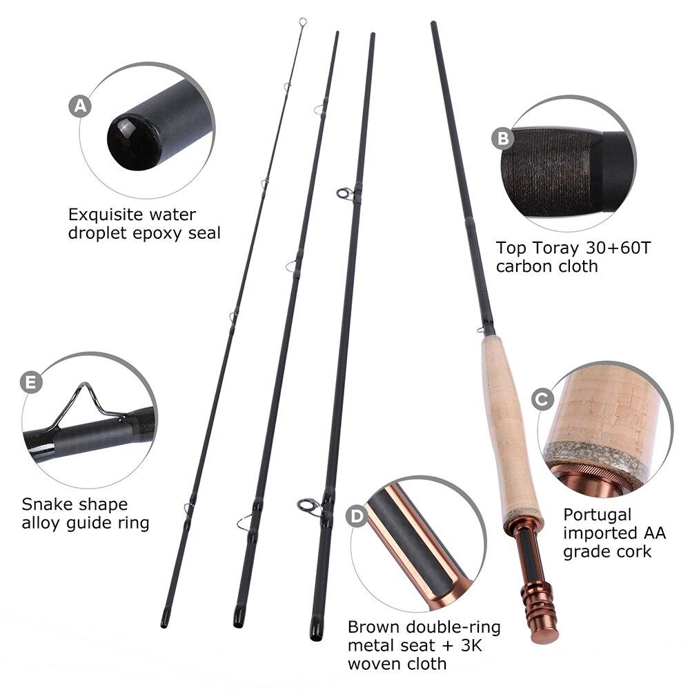 Goture Fly Fishing Combo Maxway Honor Fly Reel 3/4 2.4M 5/6 2.7M Fishing Rod, Main Line+16pcs Flies+Lure Box enlarge