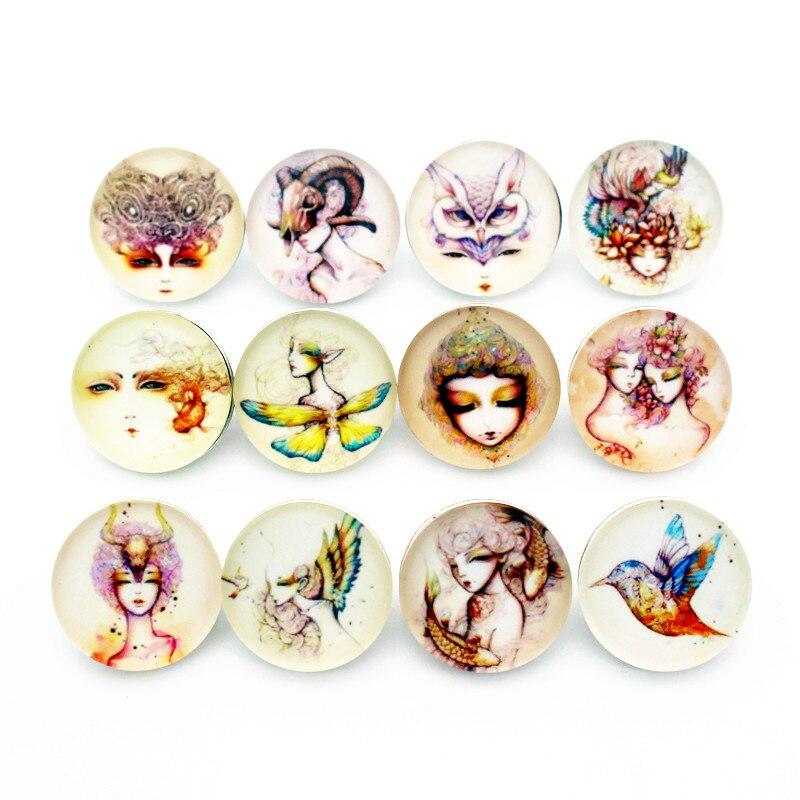 Venta al por mayor 10 unids/lote nuevos dijes a presión joyería hermosa máscara chica arte vidrio botones a presión ajuste 18mm/20mm collar de pulsera a presión DIY