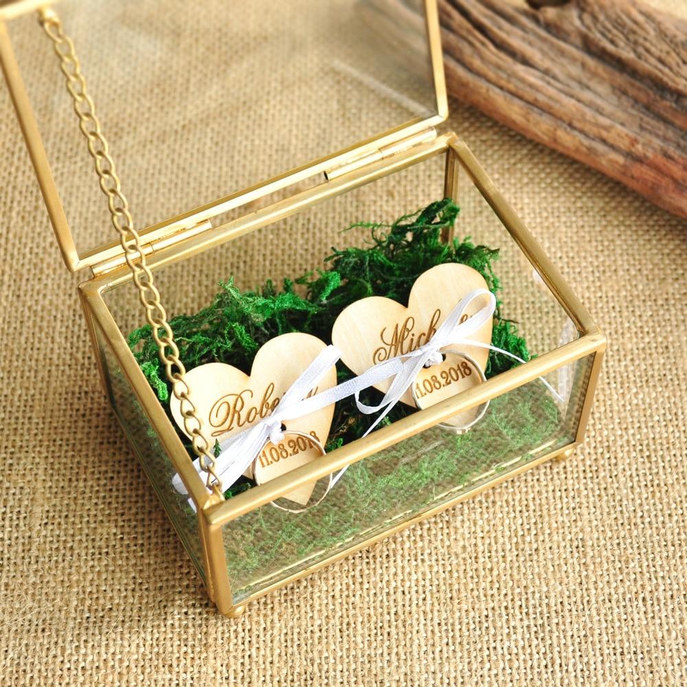 Caixa de anel de vidro personalizado casamento anel titular caixa de jóias de cobre proposta anel portador caixa de presente de casamento