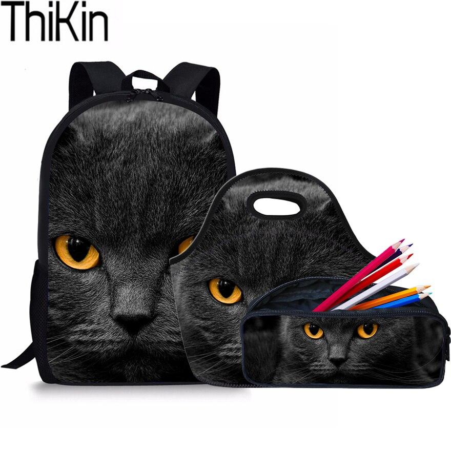 THIKIN 3Pcs/Set Cute Black Cat Printing School Bags for Kids Schoolbag Backpacks Children Shoulder Backpack Girls Book Bag Bolsa