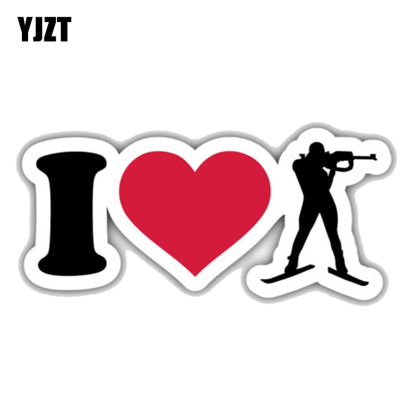 YJZT 15,2 см * 6,3 см личность I Love Biathlon Silhouette PVC декоративный автомобильный стикер 11-00016