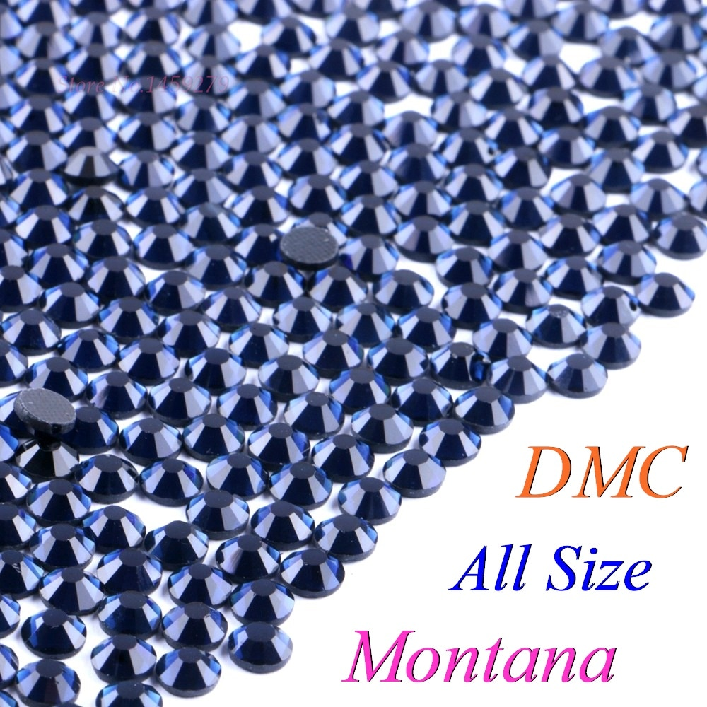 ¡Todo el tamaño! Montana Hotfix DMC Rhinestone SS6 SS10 SS16 SS20 SS30 cristales de vidrio de piedras caliente fijar-FlatBack con pegamento