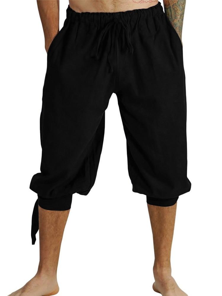 Pirate Viking Renaissance Leg Bandage Loose Pant Halloween Costumes for Man's Adult Pants Men Medieval Trousers Cosplay Costume
