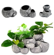 Aquarium Plant Bonsai Steen Pot Aquarium Steen Cave Decoratie Voor Fish Fokker Bonsai Onderdak Filter