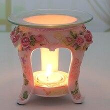 PINNY-lampe aromathérapie en résine   Style Pastoral européen, brûleur dhuile aromatique, bougie artisanat de décoration de la maison, lampe à huile Rose essentielle