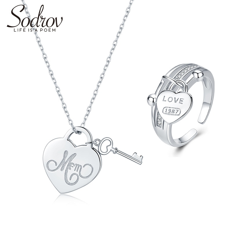 Sodrov, conjunto de joyería, anillo colgante, collar, compromiso de boda, plata, mujeres finas, fiesta, corazón, circón