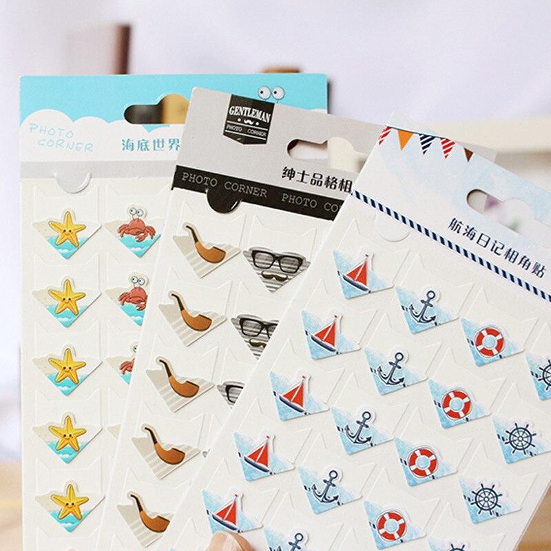 Купить с кэшбэком 24 pcs/lot DIY Ocean series cute Paper Stickers for Photo Albums Excellent Handwork Frame Decoration paper for Scrapbooking set