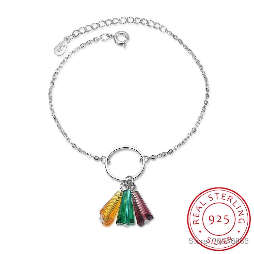 Rainbow sintético Fã de Cristal 925 Pulseiras de Prata Esterlina Para Mulheres pulseira 925 Sterling Silver Jóias S-B210