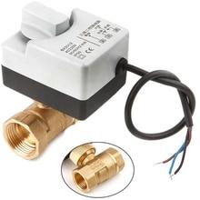 Ac220V vanne à bille motorisée   2 voies 3 fils, actionneur électrique avec interrupteur manuel