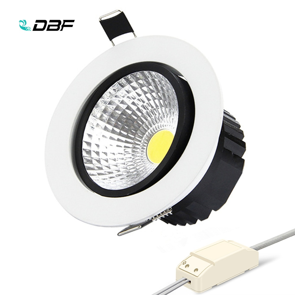 [DBF] redondo empotrable foco LED COB regulable 6W 9W 12W 15W foco de techo de LED AC85-265V 3000K/4000K/6000K iluminación interior