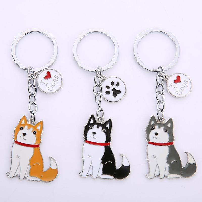 Nuevo llavero de perro husky Siberiano, llavero con abalorio para hombre, llavero de Metal, accesorios de joyería para bolso de mujer