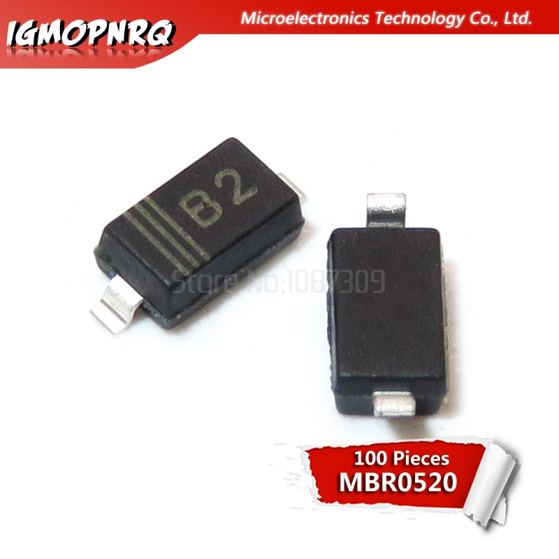 100 sztuk MBR0520LT1G SOD123 SOD MBR0520 montaż powierzchniowy Schottky prostownik mocy nowy i oryginalny