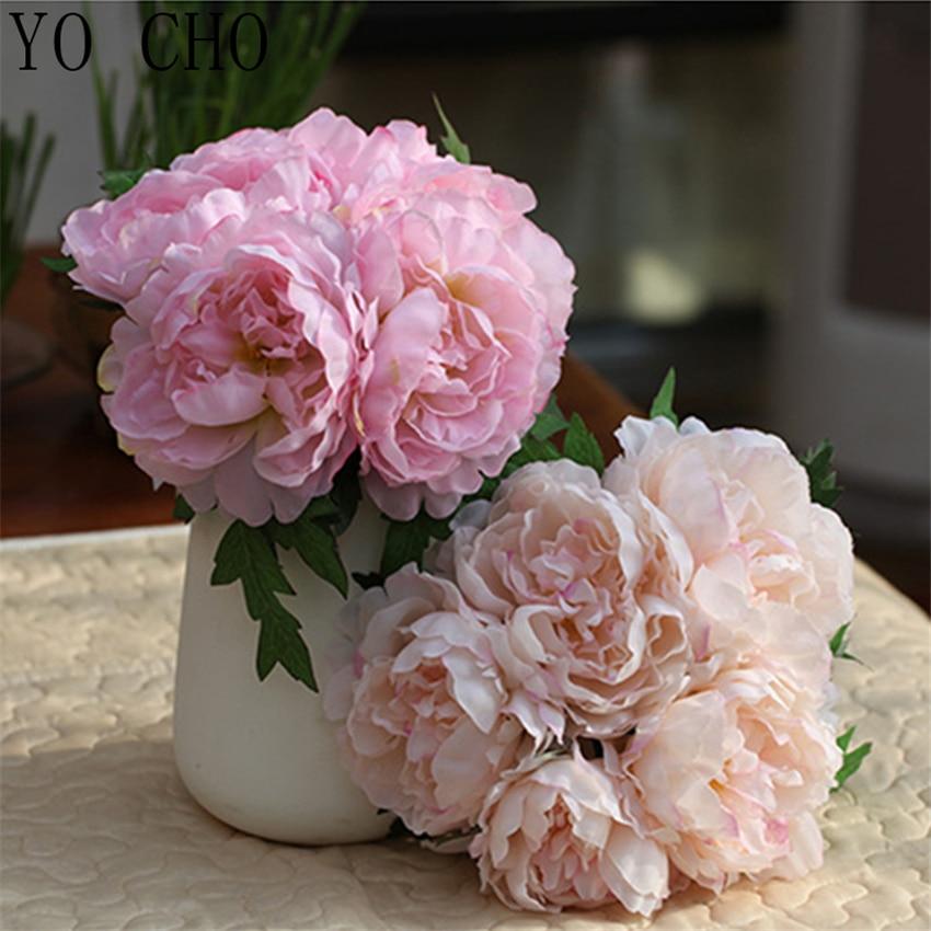 Ramo de peonías de YO CHO, flores artificiales, peonías de seda, ramo de flores de boda, hogar, jardín, decoración de flor falsa, ramo de rosas blancas