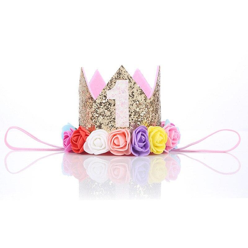 Bebê menina festa de aniversário chapéus 1st 2 3 anos de idade aniversário princesa coroa festa chapéu glitter aniversário bandana