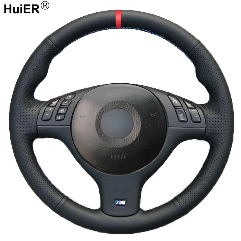 HuiER de coser a mano de protector para volante de coche para BMW E46 E39 330i 540i 525i 530i 330Ci M3 2001, 2002 de 2003 trenza accesorios de coche