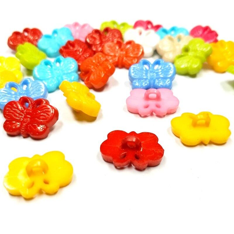 Hl 50/100 pçs 17mm x 12mm cor misturada haste borboleta botões de plástico vestuário para crianças acessórios de costura diy scrapbooking