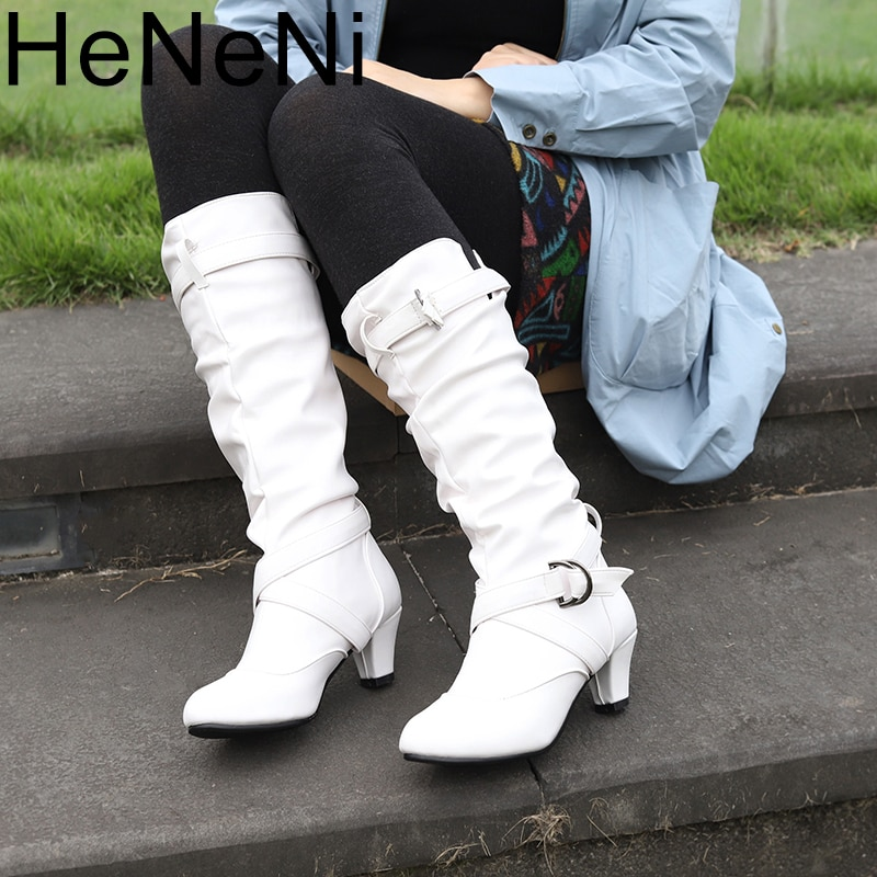 Botas de Mujer negras Botas de media caña Botas con hebilla de tacón alto zapatos de Mujer Otoño Invierno de talla grande 34-43 Botas de Mujer