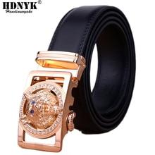Wolf Head Buckle Belt for Men Luxury High Quality Genuine Leather 2021 Brand Designer Automatic Buckle Belt Men Hot Sale