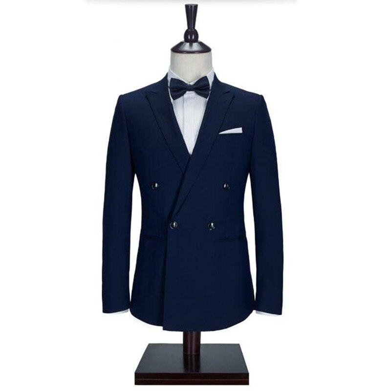 Azul Marino hombres trajes chaqueta elegante hecha a mano smoking de novio boda chaqueta hecha a medida formal traje chaqueta