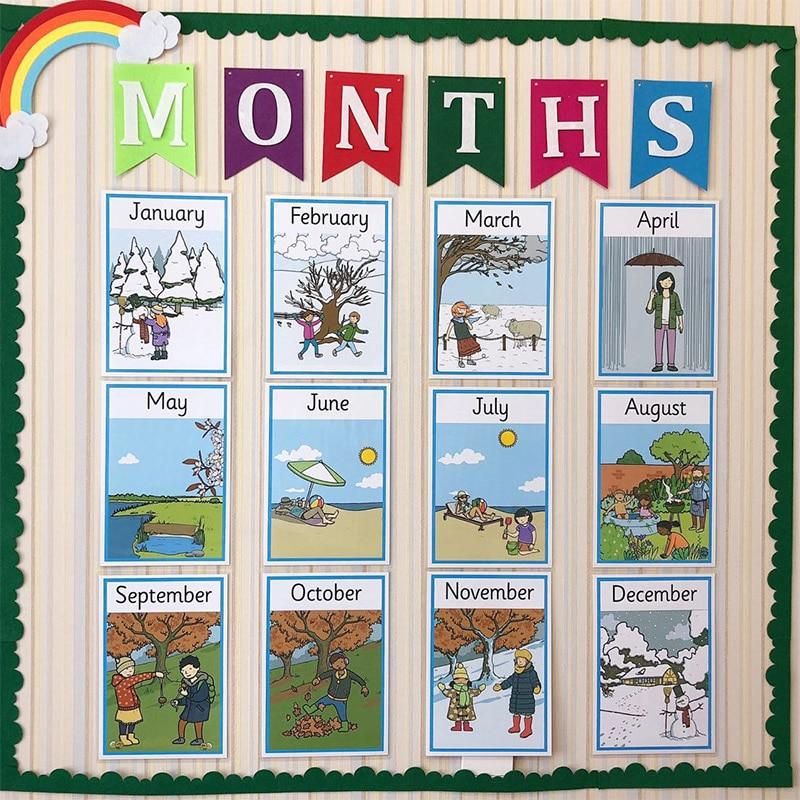 12 unids/set aprender inglés meses año tarjeta Flash ayuda enseñanza inglés Poster A4 tarjeta grande juguetes educativos para niños regalos