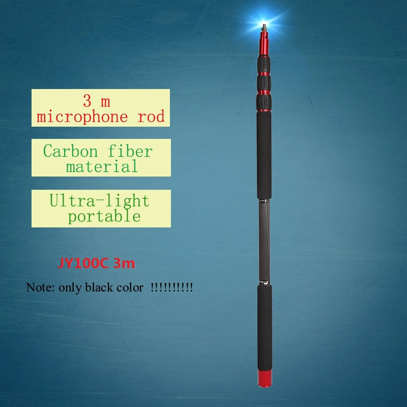 Jieyang JY100C carbon fiber boompole professional microphone Boom microphone bucket rod hanging rod 3 m Tube can wear 3.5mm line