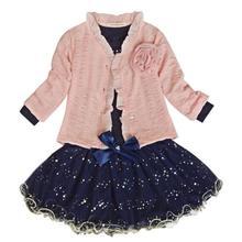 Ensemble costume Tutu rose pour petites filles   Ensemble de fête, 3 pièces, manteau + T-shirt + jupe, nouvelle collection