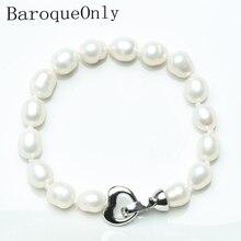 Baroqueonly bracelet de perles deau douce, perle deau douce, perle géométrique, Zircon, clip de coeur, perle de riz, blanc, violet, HR