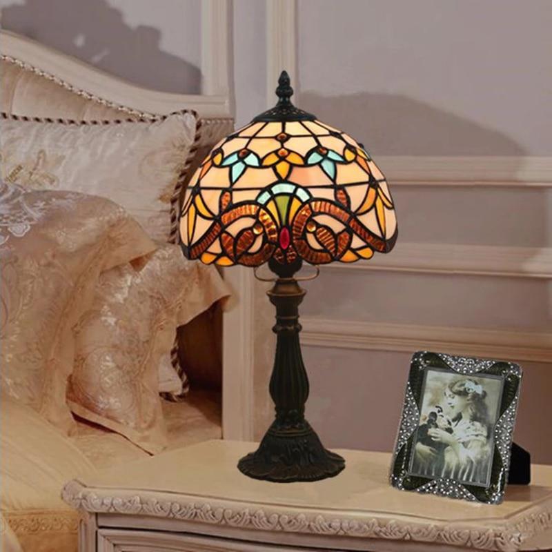 WOERFU Tiffany lámpara de mesa E27, lámpara de noche para dormitorio, lámpara de mesa Retro de moda creativa