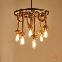 Dynasty Country Natural Loft Style Pendant Lamp Rope Edison Art Decorative Hanging Lights Vintage Retro Restaurant Coffee Shop