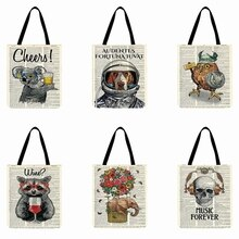 Retro Old Newspaper Animal Printed Tote Bag Linen Fabric Bag Foldable Shopping Bag Outdoor Beach Bag Totes Daily Hand Bag