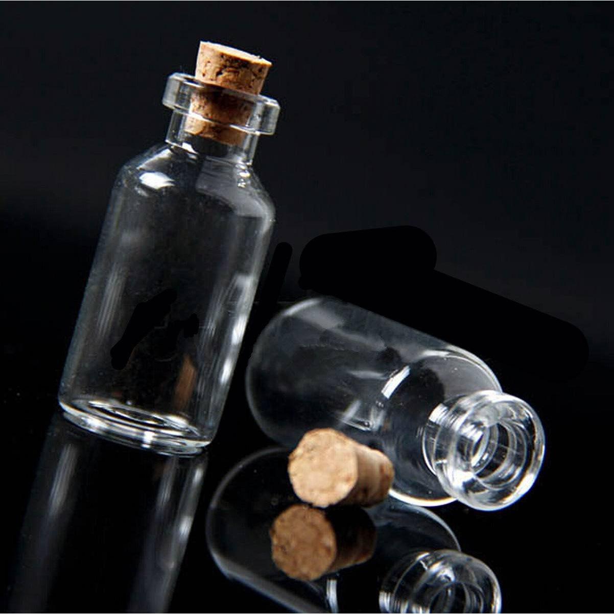 10x botellas de mensajes ampollas de vidrio pequeñas y transparentes en blanco con corcho