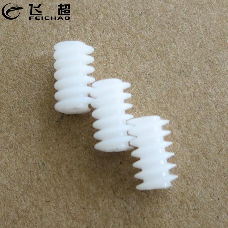 10 Uds 6*10 (2A) engranaje de tornillo de plástico reductor 0,5 módulo engranaje de transmisión DIY accesorios de juguete