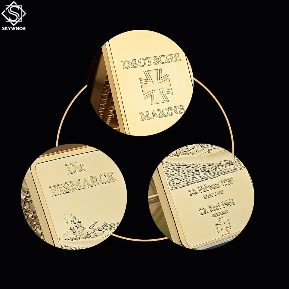 German Die Bismarck Battleship Gold Plated Bullion Bar/Coins 1OZ Germany Navy Deutsche Marine Gold Bar Souvenir Coin