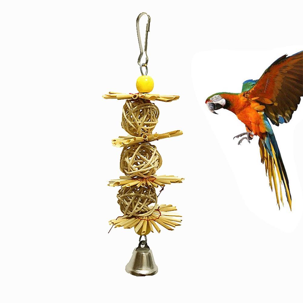 Pájaro colgante edificio paja Natural juguete pájaro jaula colgante natural FLOR DE PAJA juguete @ 16