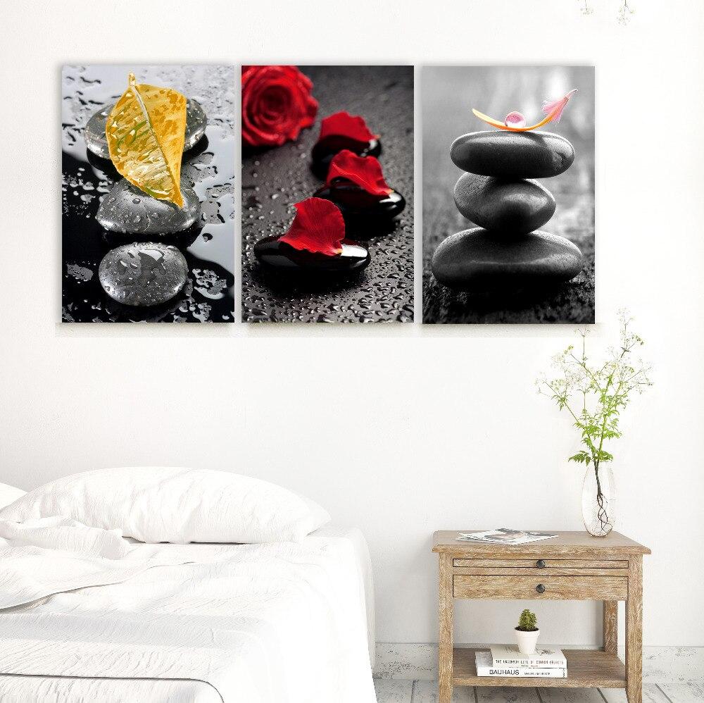 Lista de decoración de piedras zen en lienzo cuadro en la pared pinturas de arte 3 paneles en 1 sin marco