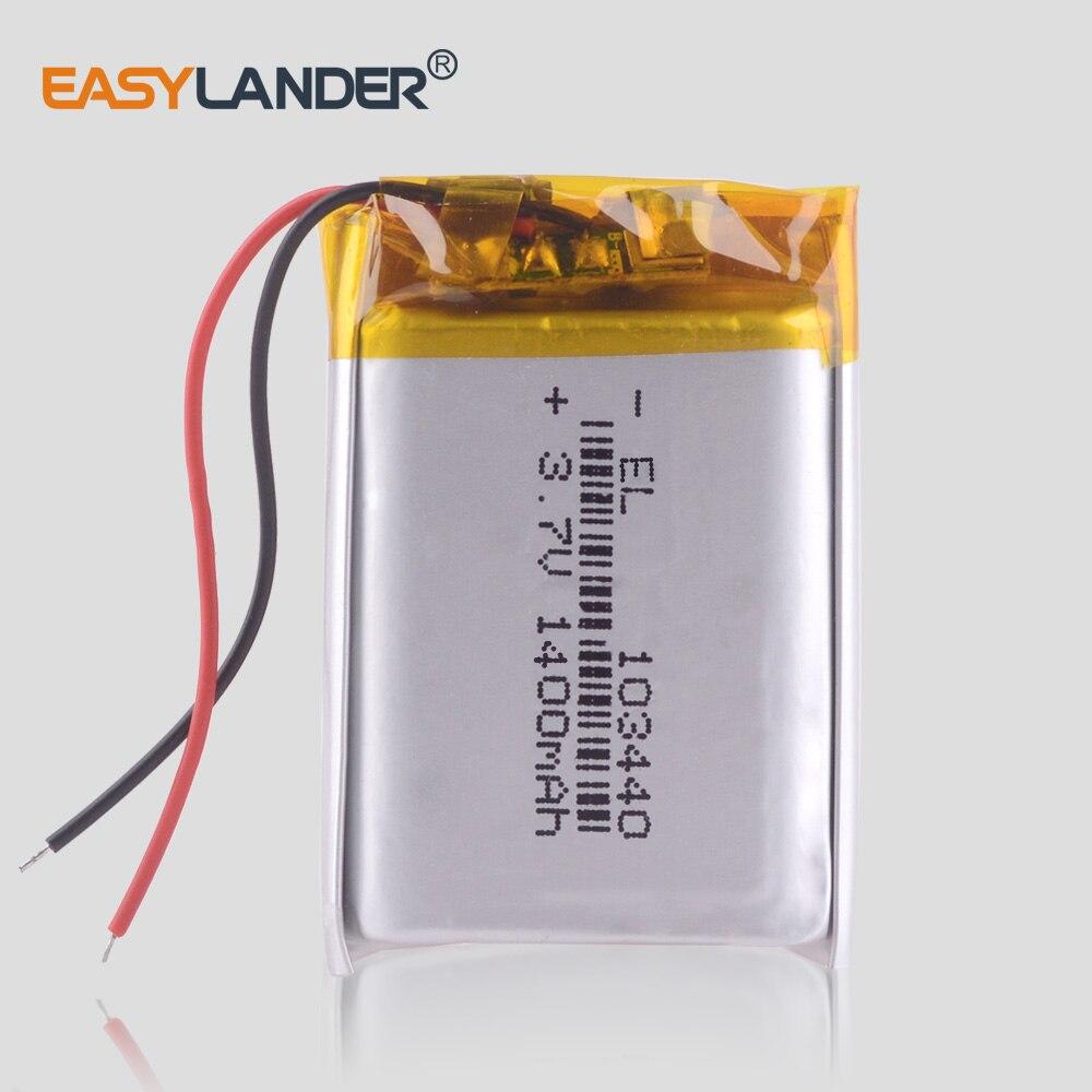 3.7 V 103440 lithium-ion polymer battery 1400 mah Car DVR video recorder LED Lighting wireless controller speakers toys