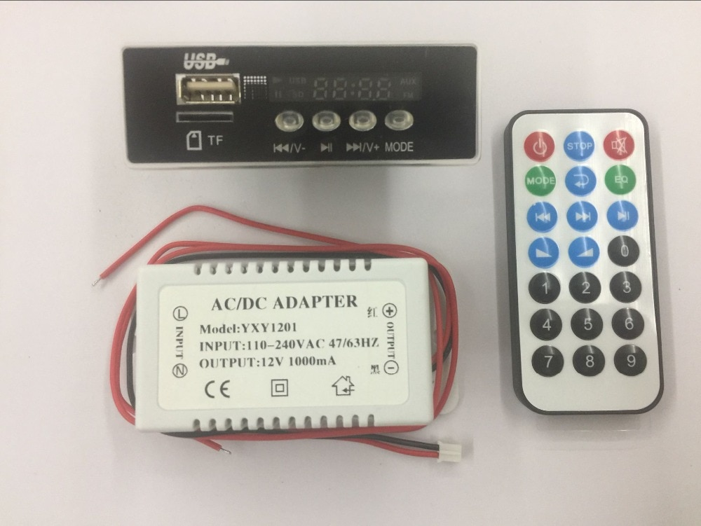 DC12V power supply  Car Handsfree Bluetooth MP3 APE decode board with Bluetooth module FM MP3 KIT LED USB Audio card decoder DIY