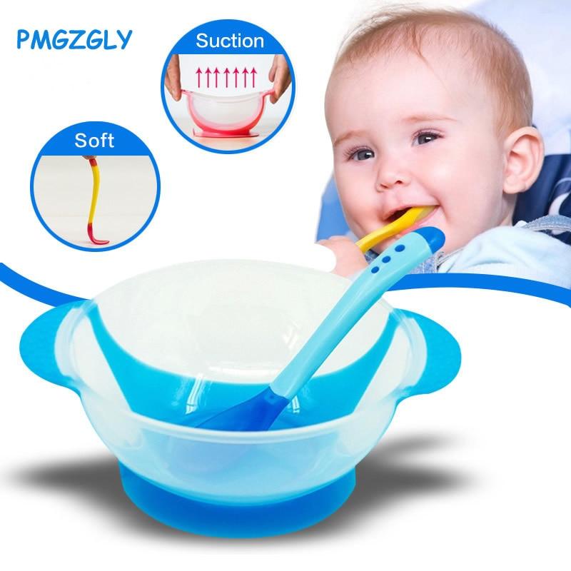 Детская посуда, обучающая посуда для детей с присоской, миска для еды с датчиком температуры, ложка для кормления ребенка