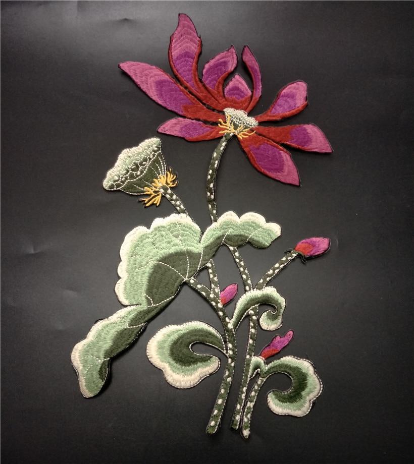 Flor de loto bordado apliques, parches para calcomanías para ropa coser parches bordados para ropa toppe por vestiti