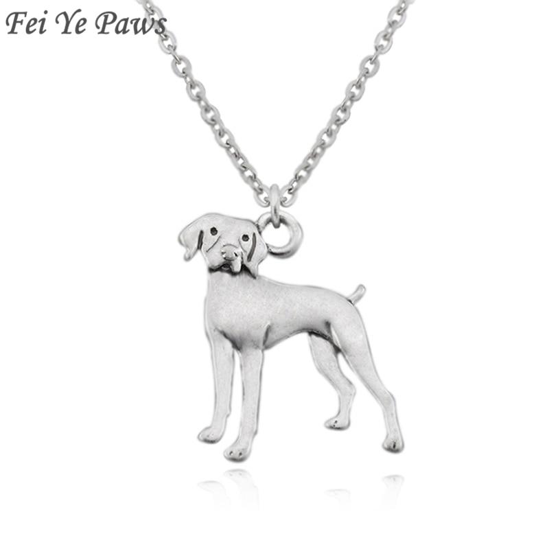 Vintage prata cor boho vizsla alemão shorthaired ponteiro cão charme instrução colar longo corrente para mulher gargantilha