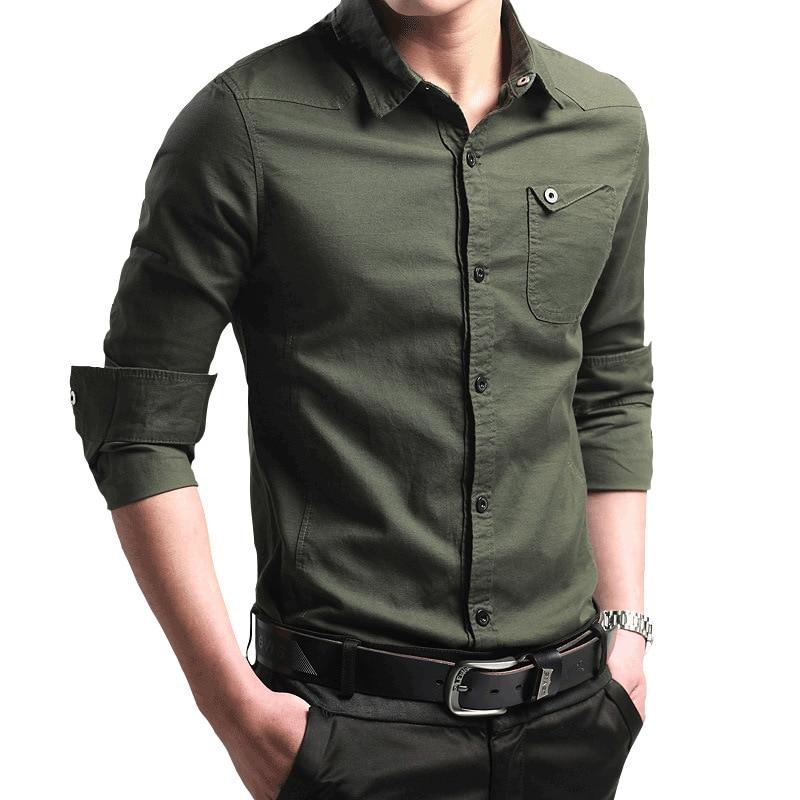 Camisas casuales de otoño 2019 para hombres, camisa verde militar, Camisa ajustada de manga larga, camisetas de ejército, ropa para hombres