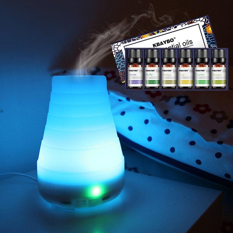 Difusor de aceites esenciales, Humidificador de niebla fría de aceites esenciales de 100ml, luces LED que cambian de 7 colores para el hogar, la Oficina y el bebé